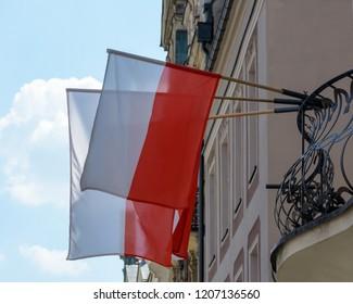 Flag of Poland on a Balcony, Polish Flag on a Balcony Shallow Depth of Field