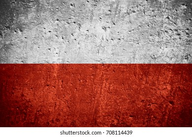 flag of Poland or Polish flag on scratched rough texture