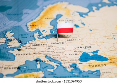 the Flag of poland in the world map