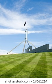 The flag pole above Parliament House, Canberra, Australia
