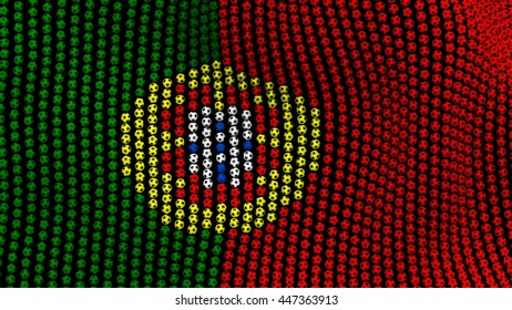 Flag of Portugal, consisting of many balls fluttering in the wind, on a black background. 3D illustration.