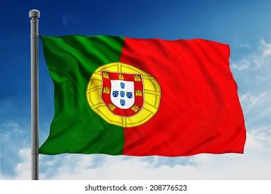 Flag of portugal on blue sky background