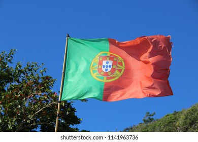 Flag of Portugal on the mast
