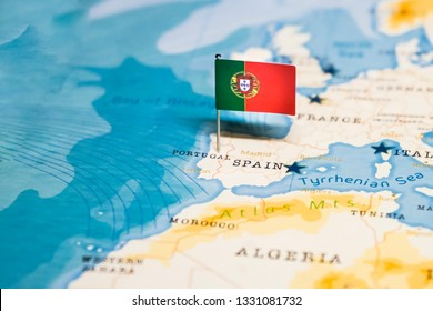 the Flag of portugal in the world map