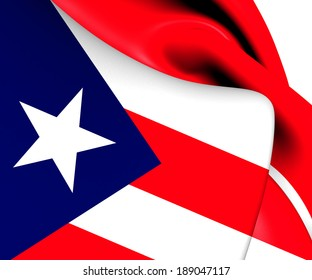 Flag of Puerto Rico. Close Up.