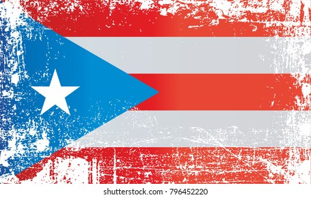 Flag of Puerto Rico, Commonwealth of Puerto Rico. Wrinkled dirty spots. Can be used for design, stickers, souvenirs