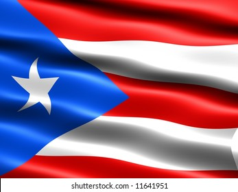 Flag of Puerto Rico, computer generated illustration with silky appearance and waves