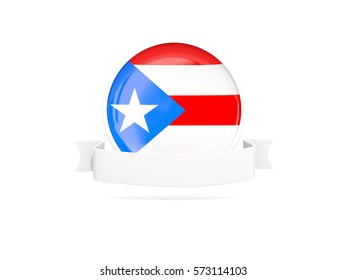 Flag of puerto rico with empty banner  isolated on white. 3D illustration