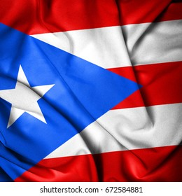 Flag of Puerto Rico. Fabric Flag
