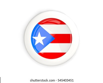 Flag of puerto rico, glossy round button with white frame isolated on white. 3D illustration