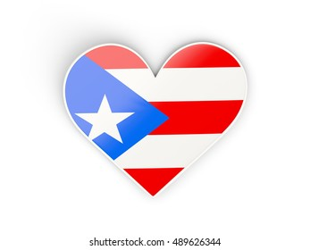 Flag of puerto rico, heart shaped sticker isolated on white. 3D illustration