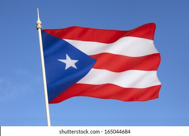 Flag of Puerto Rico -  an island in the Greater Antilles in the Caribbean Sea. In 1952 it became a commonwealth in voluntary association with the United States with full powers of local government.