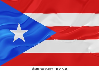 Flag of Puerto Rico, national country symbol illustration wavy fabric