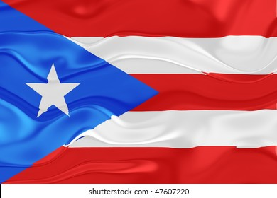 Flag of Puerto Rico, national country symbol illustration wavy