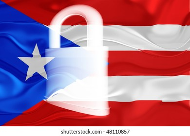 Flag of Puerto Rico, national country symbol illustration wavy security lock protection
