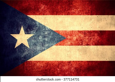 flag of Puerto Rico or Puerto Rican banner on rough pattern texture vintage background