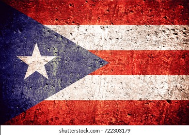 flag of Puerto Rico or Puerto Rican banner on scratched rough texture
