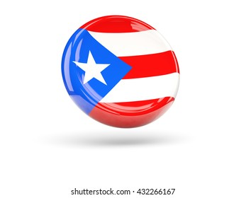 Flag of puerto rico, round icon. 3D illustration