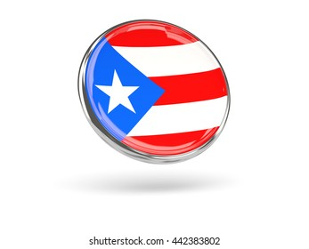 Flag of puerto rico. Round icon with metal frame, 3D illustration