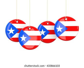 Flag of puerto rico, round labels on white. 3D illustration