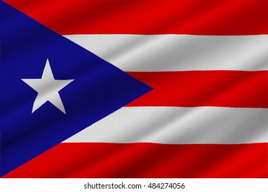 Flag of Puerto Rico State located in the northeastern Caribbean, United States. 3D illustration