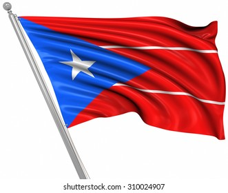 Flag of Puerto Rico , This is a computer generated and 3d rendered image.