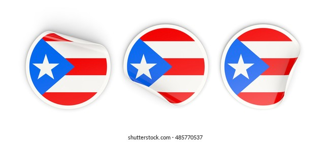 Flag of puerto rico, three round labels isolated on white. 3D illustration