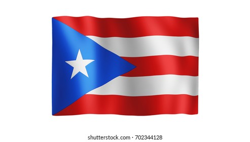 Flag of Puerto Rico; true ratio; gentle, stylized, non-realistic, unhinged waving; nice textile pattern visible in hi-res
