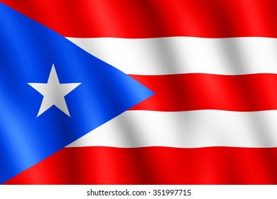 Flag of Puerto Rico waving in the wind giving an undulating texture of folds in the fabric. The Image is in the official ratio of the flag - 2:3.