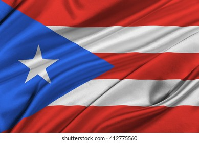 Flag of Puerto Rico waving in the wind.