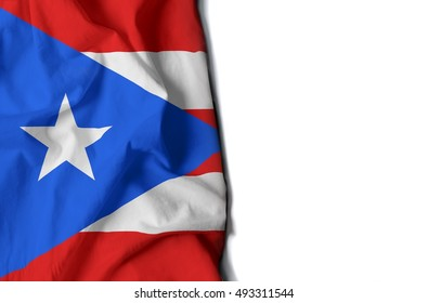 flag of puerto rico, wrinkled flag with space for text