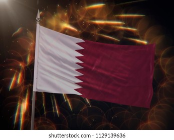 Flag of Qatar with fireworks display in the background