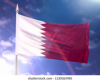 Flag of Qatar with flare and dark blue sky