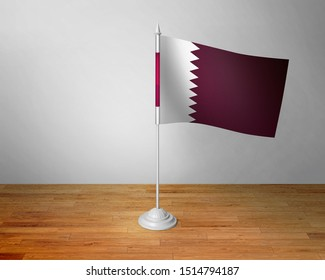Flag of Qatar Table. Qatar Desk Flag on Wooden Table.