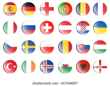 Flag of qualified country team for football european championship 2016