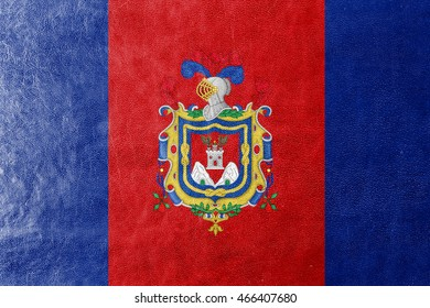 Flag of Quito, Ecuador, painted on leather texture