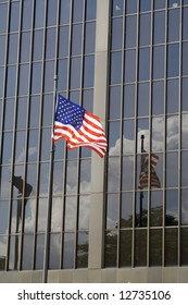 flag reflected in windows