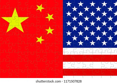 flag of the republic of china and half usa united states of america flag on puzzle pieces background, crisis president and china for nuclear atomic and customs duties on products tax export