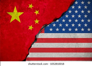 flag of the republic of china on broken brick wall and half usa united states of america flag, crisis president and china for nuclear atomic and customs duties on products tax export, import concept