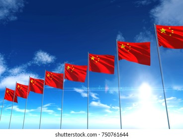 Flag of Republic of China under blue sky, 3D rendering