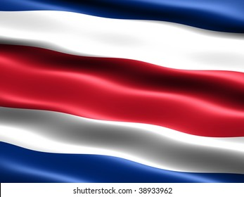 Flag of the Republic of Costa Rica, computer generated illustration with silky appearance and waves