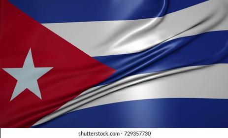 The flag of Republic of Cuba beautiful waving crease.