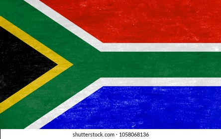 Flag of Republic of South Africa with chalk color.
