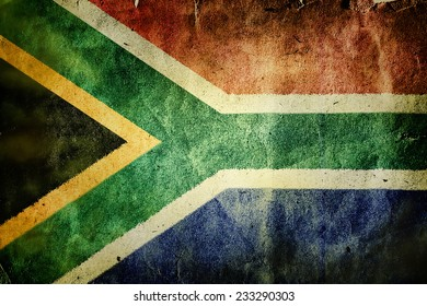 flag of the Republic of South Africa. Old vintage paper texture.