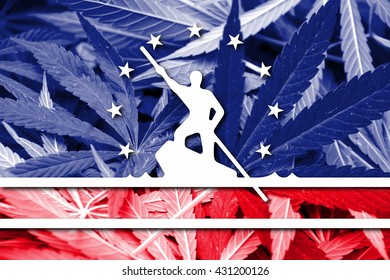 Flag of Richmond, Virginia, on cannabis background. Drug policy. Legalization of marijuana