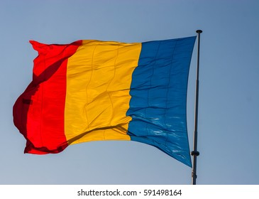 Flag of Romania on a sunny day.