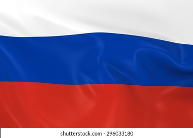 Flag of Russia - 3D Render of the Russian Flag with Silky Reflective Texture