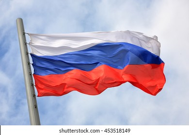 Flag of Russia against the sky