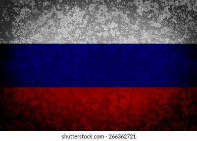 Flag of Russia. Grungy textured Russian flag.