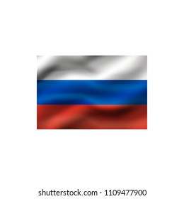 Flag of Russia on white background. Illustration.